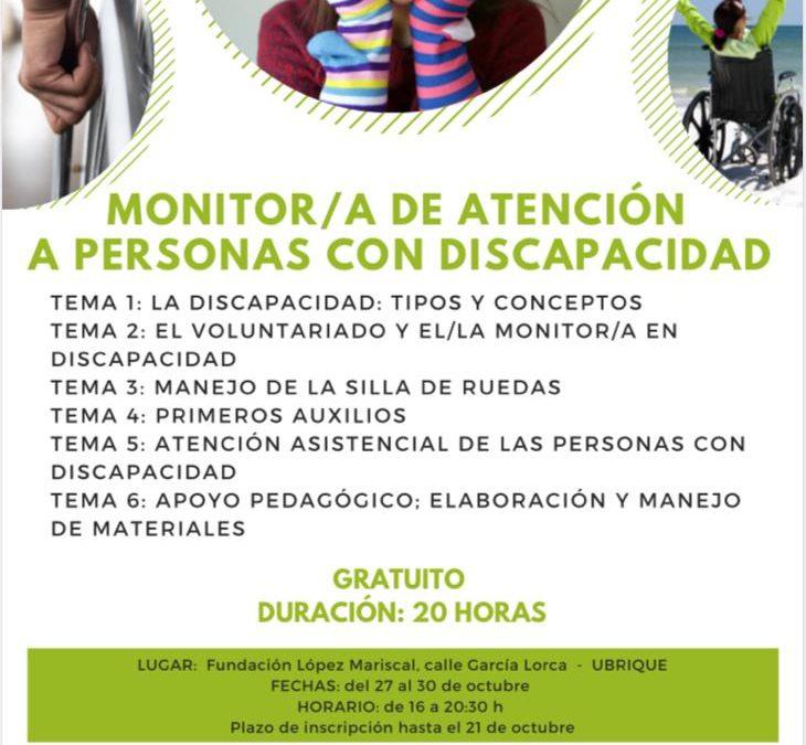INSCRÍBETE EN EL CURSO DE MONITOR DE ATENCIÓN A PERSONAS CON DISCAPACIDAD